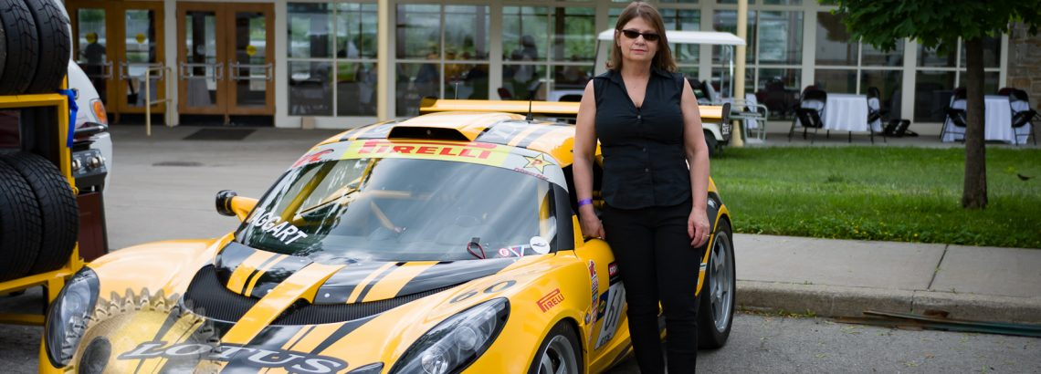 Sara with the new car that will debut at the next race in Limerock.