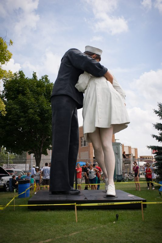 """Statue of the Victory Kiss--""""Unconditional Surrender"""" by John Seward Johnson II, on Temporary display in Royal Oak.http://patch.com/michigan/royaloak/statue-famous-world-war-ii-kiss-be-installed-royal-oak-monday"""